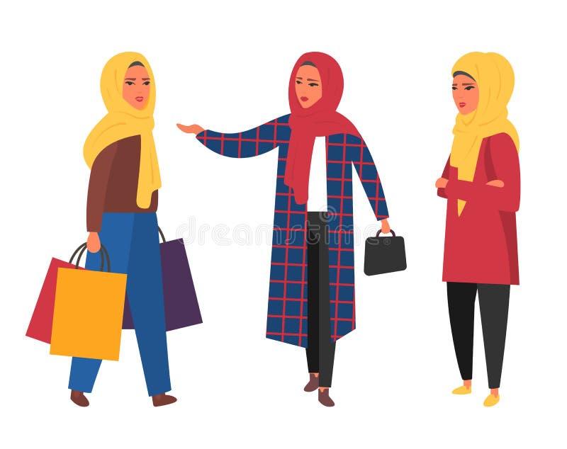 Hijab muslim kvinna Arabiskt modernt mode Vektorfolk vektor illustrationer