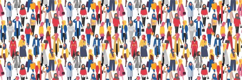 Hijab muslim kvinna Arabiskt modernt mode Vektorfolkbaner vektor illustrationer