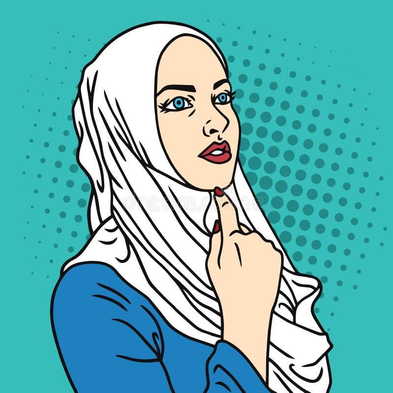 Hijab Muslim Woman Pop Art Comics Style Vector Illustration vector illustration