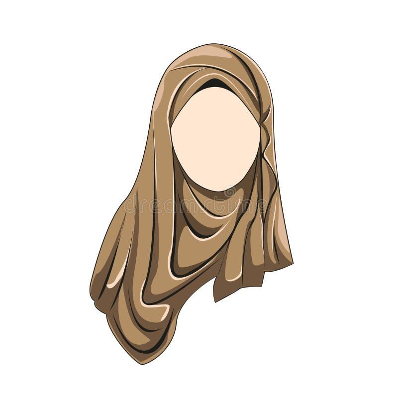 Hijab muslimah brązu wektorowy kolor ilustracji