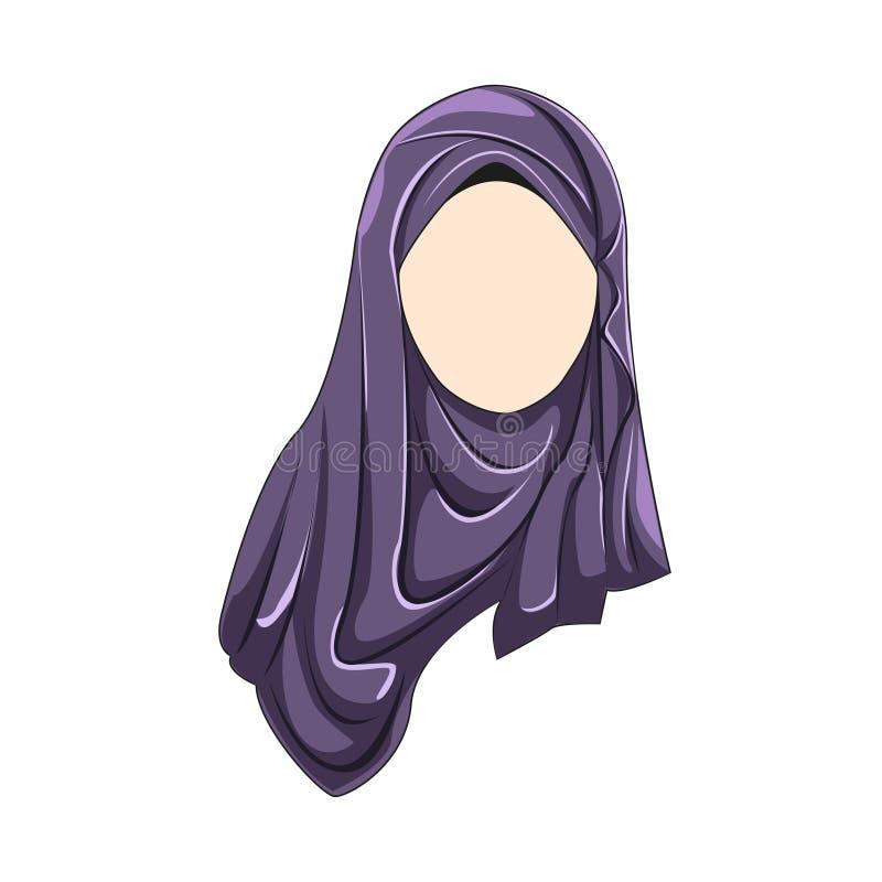 Hijab muslimah purpur wektorowy kolor royalty ilustracja