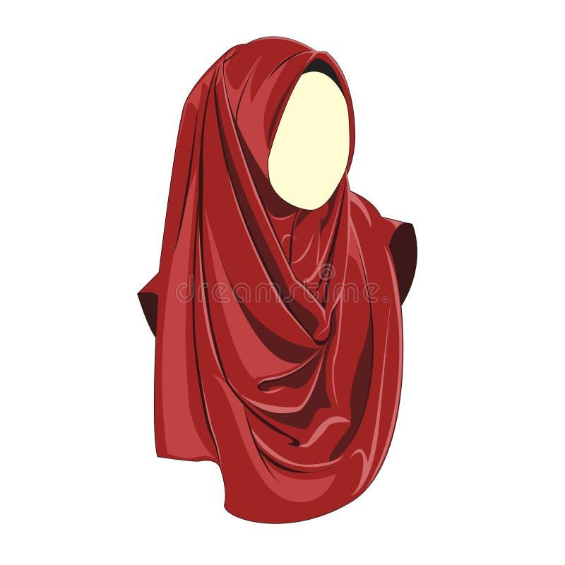 Hijab muslimah wektorowy czerwony kolor royalty ilustracja