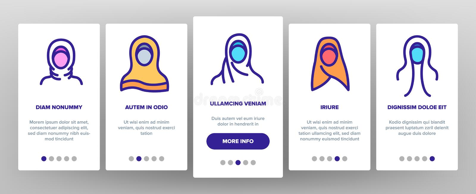 Hijab Onboarding Icons Set Vector royalty illustrazione gratis