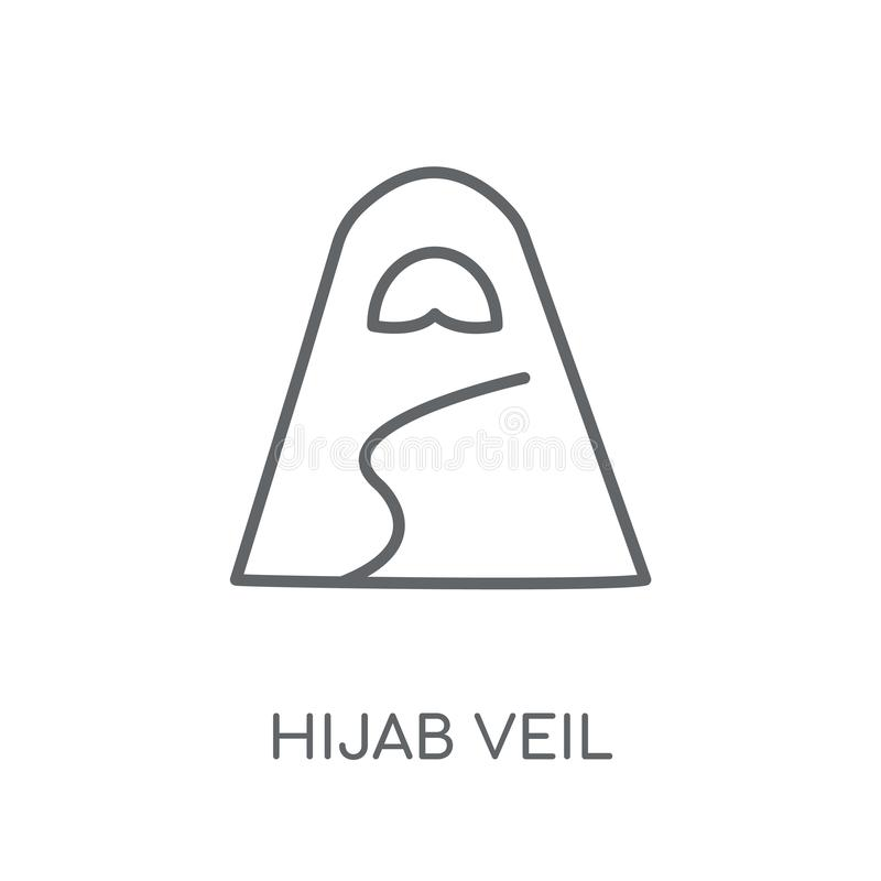 Hijab przesłony liniowa ikona Nowożytny konturu Hijab przesłony logo pojęcie o royalty ilustracja