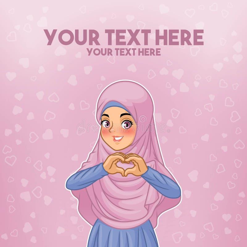Hijab vestindo da mulher muçulmana que faz a forma do coração com suas mãos ilustração do vetor