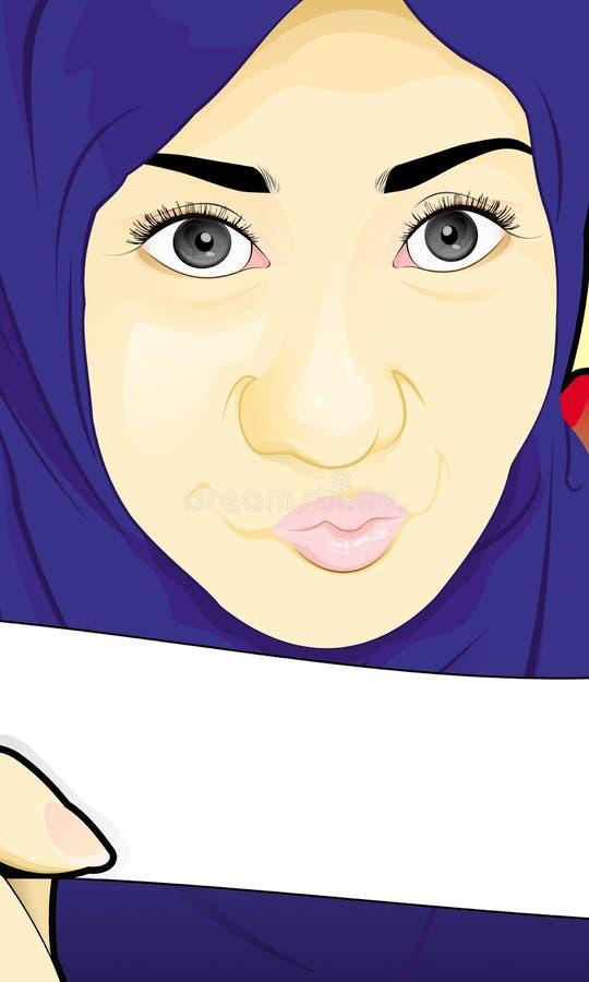 Hijabmeisje met Nota royalty-vrije stock foto's
