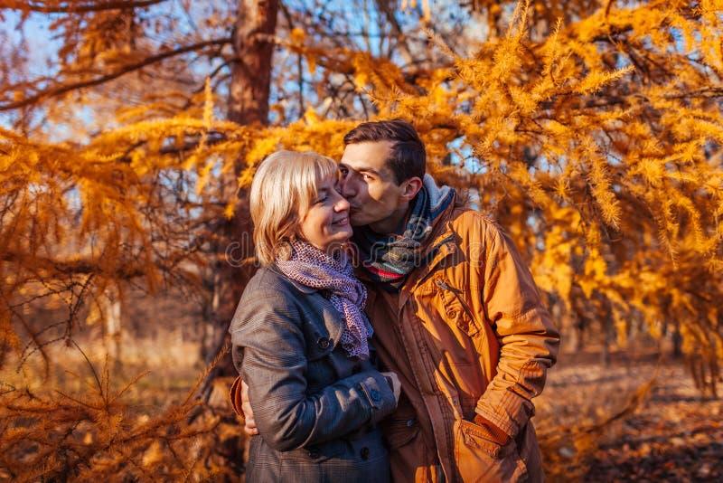 Hijo adulto que besa a su madre de mediana edad en parque del otoño Valores familiares imágenes de archivo libres de regalías