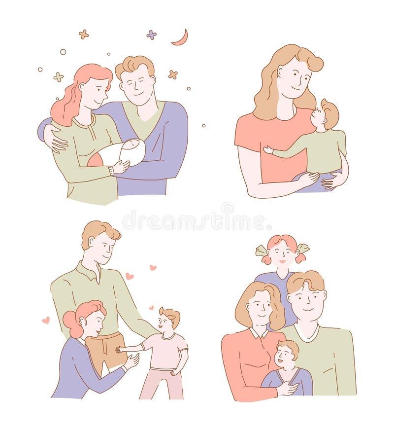 Hijo del padre de la madre y familia de la hija que abraza caracteres aislados stock de ilustración