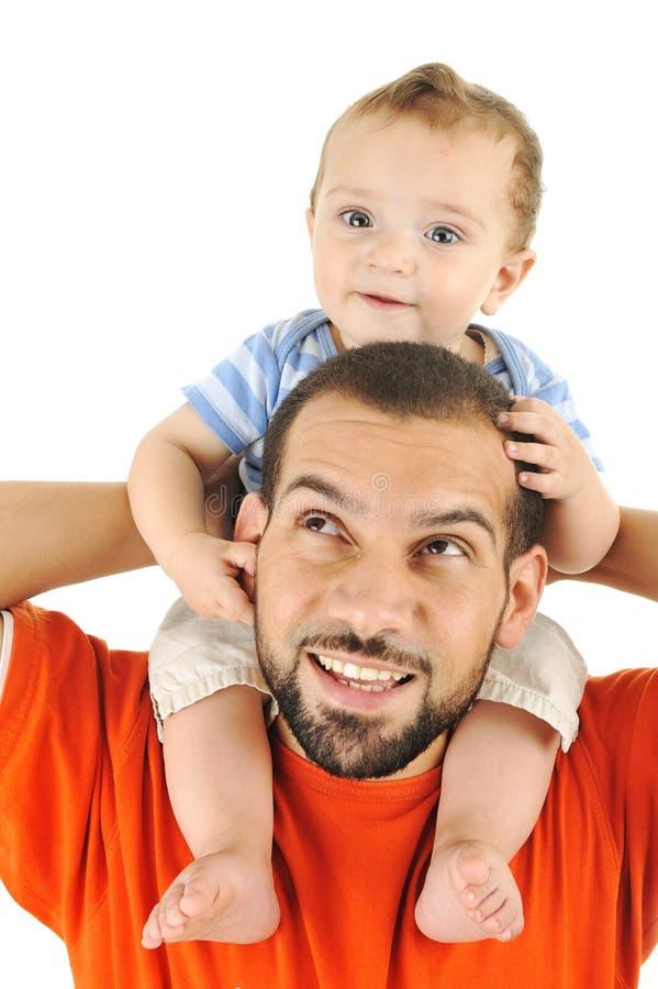 Hijo del padre y del bebé foto de archivo