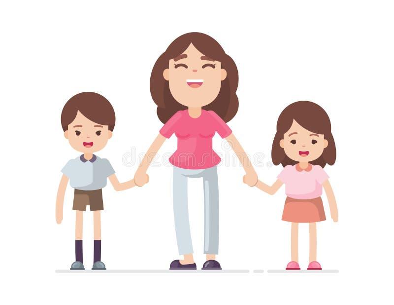 Hijo e hija, mamá feliz y concepto del niño, ejemplo de la mano de la tenencia de la madre del carácter del vector libre illustration