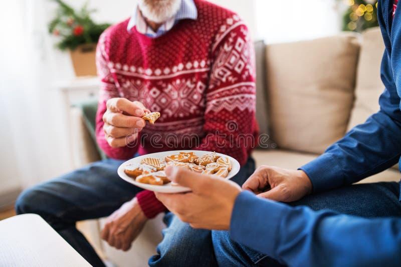 Hijo mayor irreconocible del padre y del adulto que se sienta en un sofá en el tiempo de la Navidad, comiendo las galletas imagen de archivo libre de regalías
