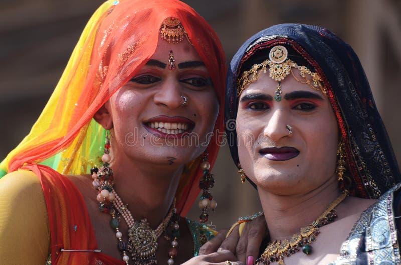Hijras - heligt folk som är så kallad  arkivbild