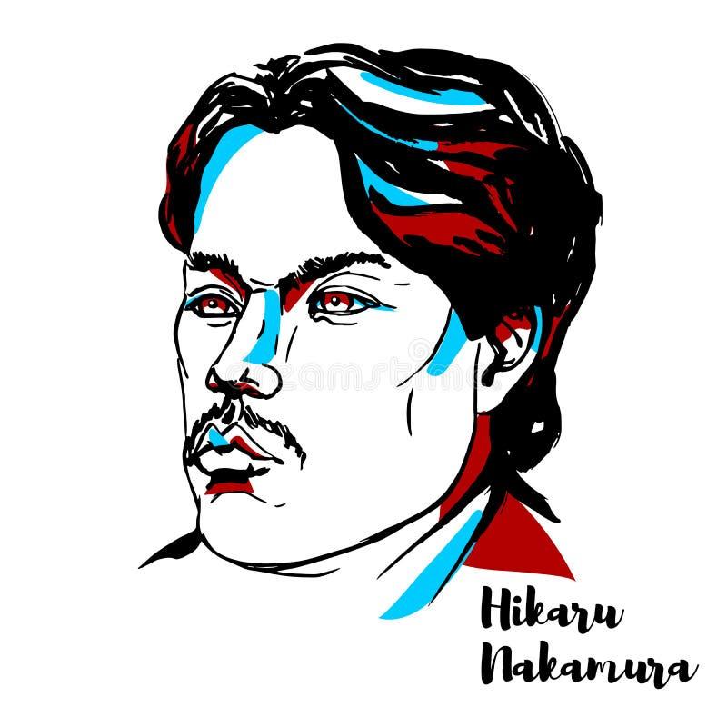Hikaru Nakamura Portrait stock illustratie