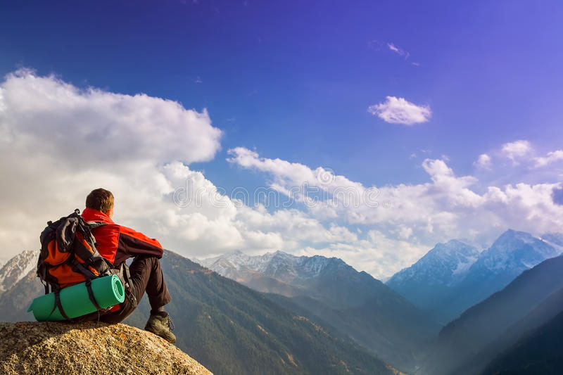 Hike and adventure at mountain stock photography