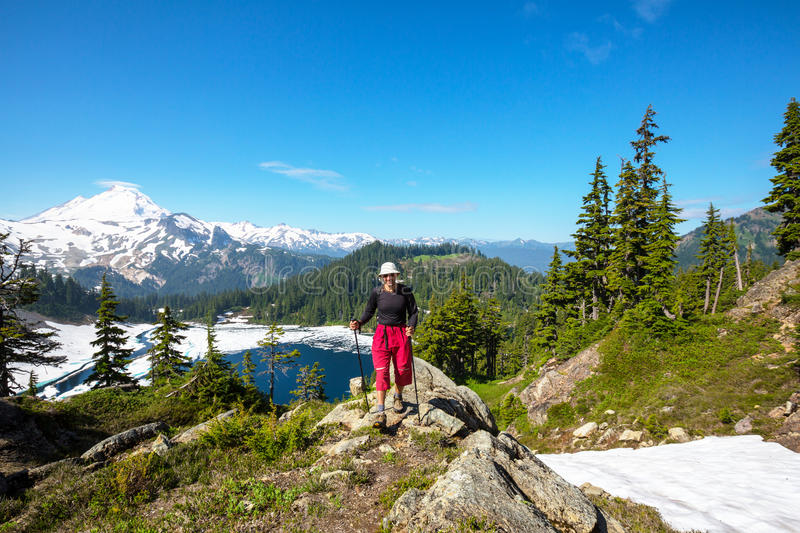 Hike in Baker Area. Hiking in Mt.Baker area, Washington stock image