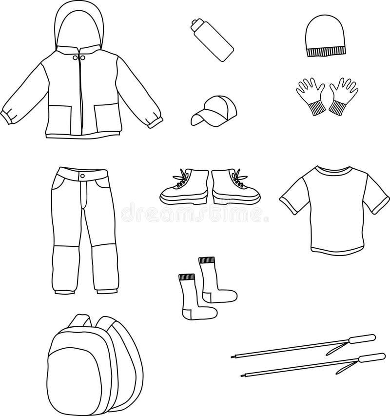 Hike, camping, tourism hand drawn icon set stock illustration