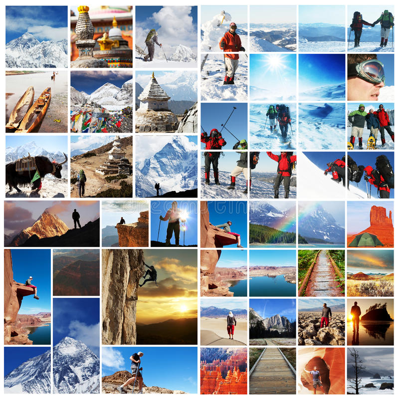 Download Hike collage stock image. Image of collage, hill, mountain - 25225279