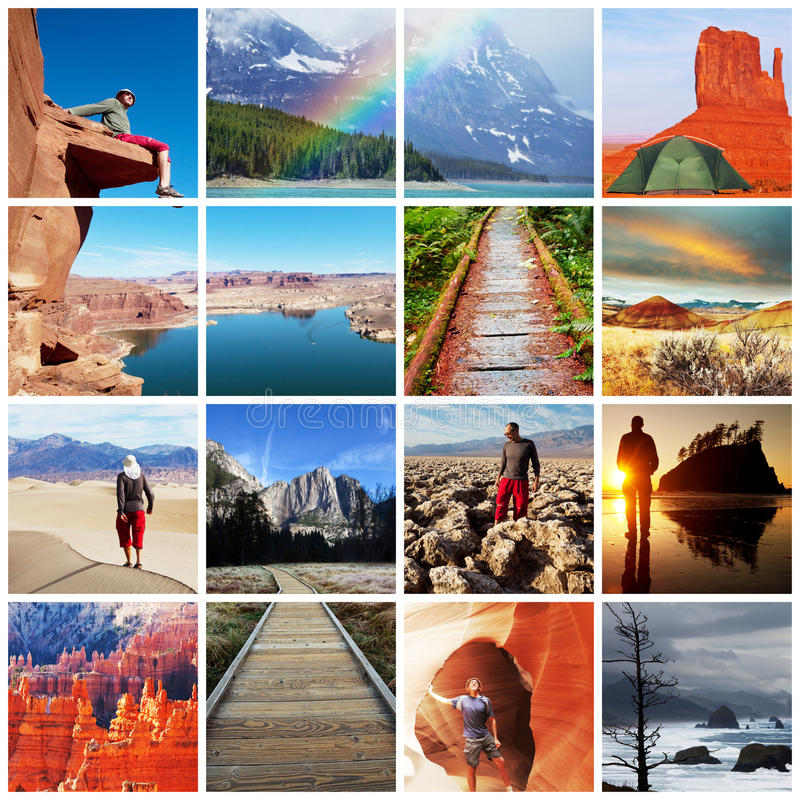 Hike Collage Stock Photo. Image Of Landscapes, Park