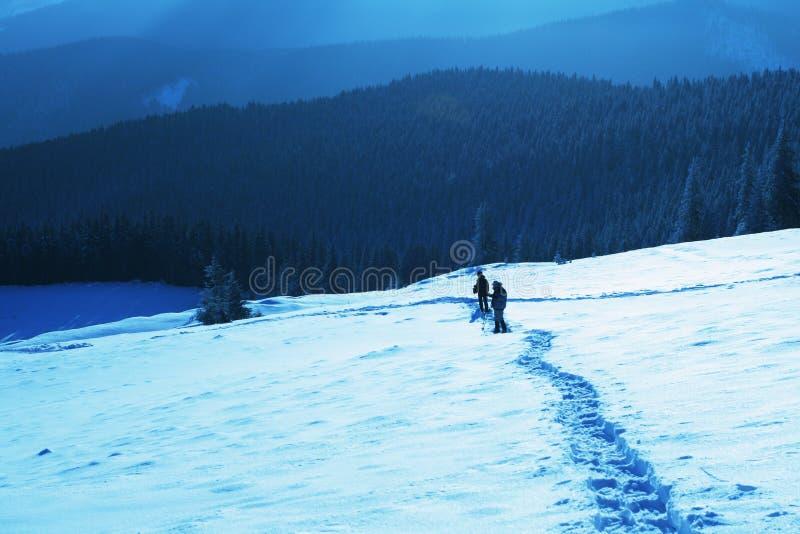 Hike do inverno imagem de stock