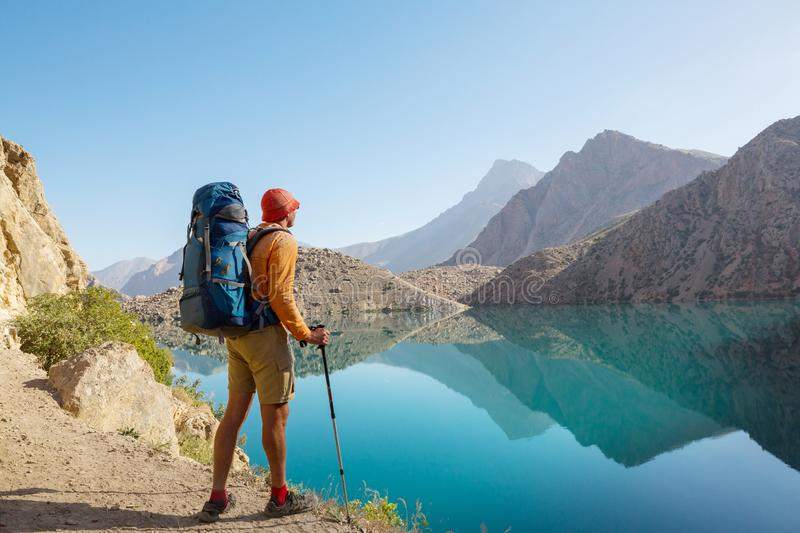 Hike in Fann mountains stock photos