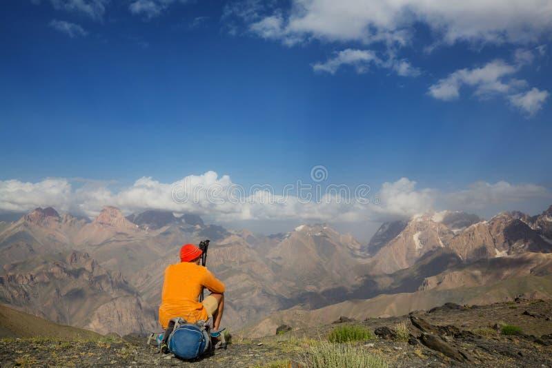 Hike in Fann mountains stock photo