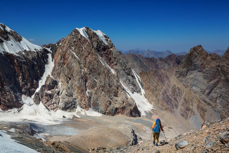 Hike in Fann mountains stock photos