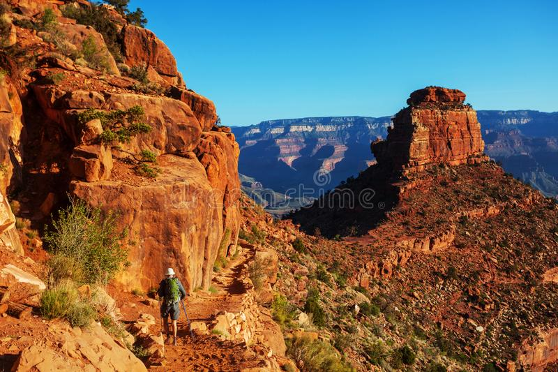 Hike in Grand Canyon. National Park stock image