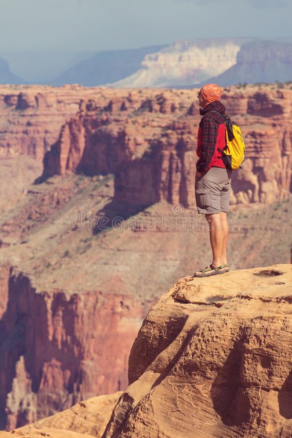 Hike in Grand Canyon. National Park stock photos