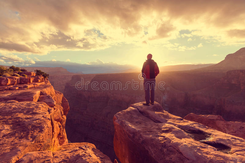Hike in Grand Canyon. National Park stock photography
