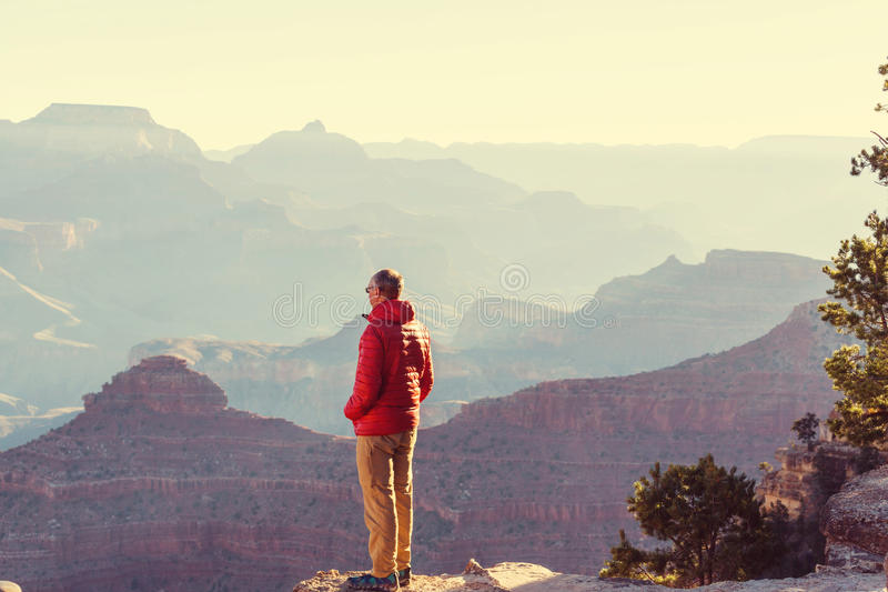 Hike in Grand Canyon. National Park royalty free stock photo