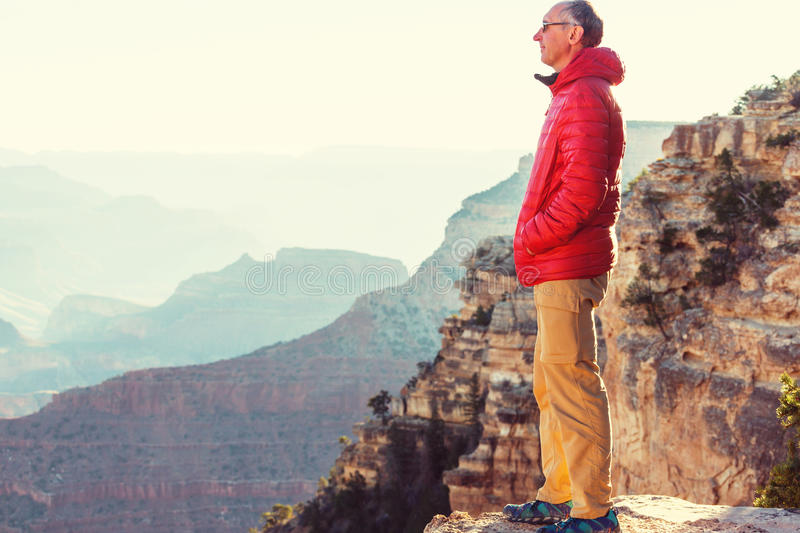 Hike in Grand Canyon. National Park stock images