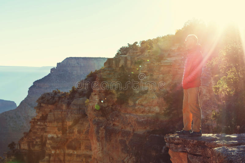 Hike in Grand Canyon. National Park stock photo