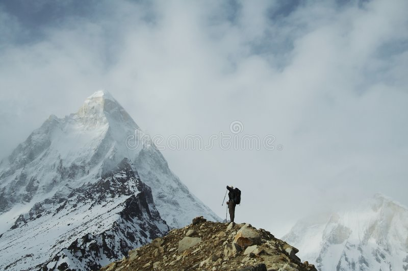Hike in Himalayan stock image