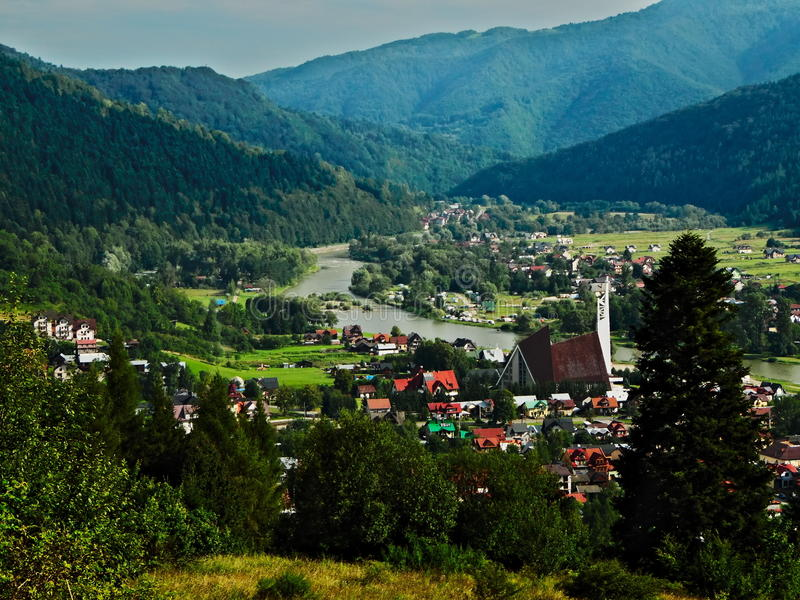 Town in the mountains. Hike the mountain trail on `Trzy Korony royalty free stock photo