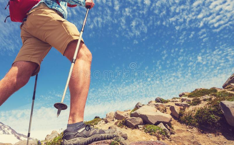 Hike in mountains royalty free stock photos