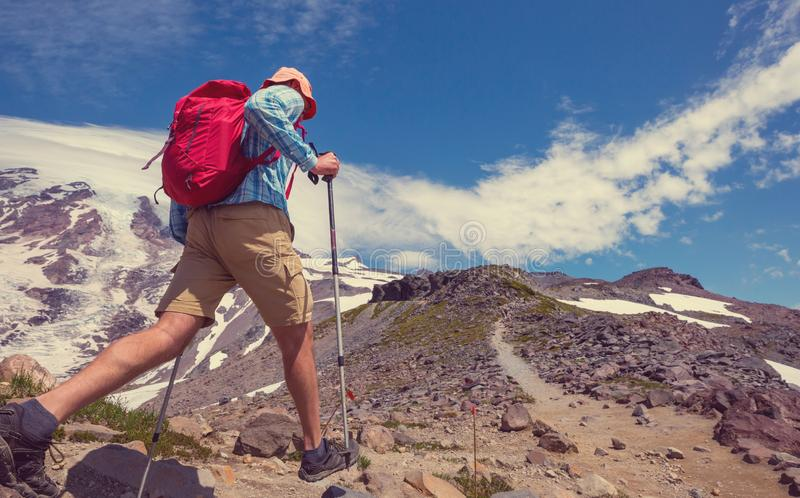Hike in mountains royalty free stock images
