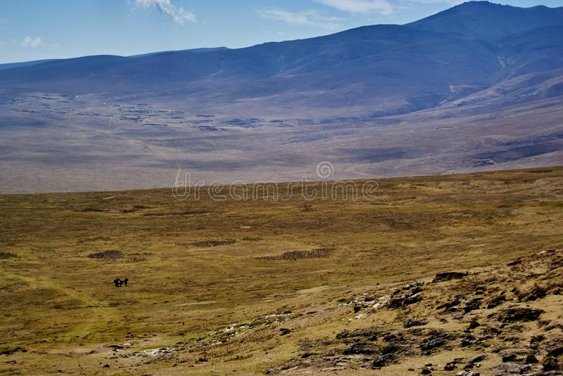 Masai guide hike in the mountains. Hike in Ngorongoro Conservation Area Nationnal park Highlands craters en route for Bulati Village from Nainokanoka with Masai royalty free stock photo