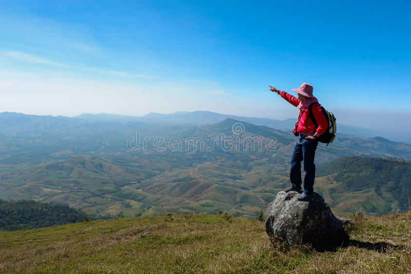 The hike. Success, A man hiking in mountains stock images