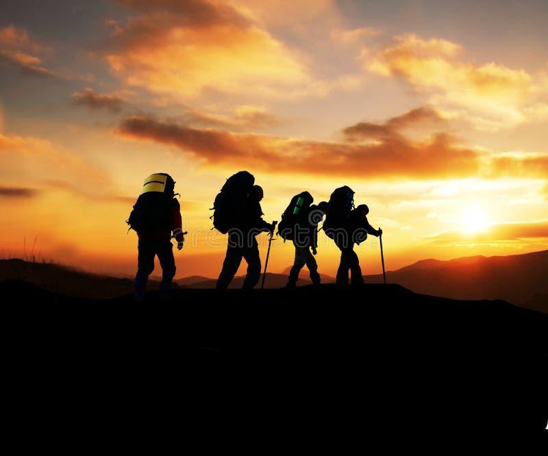 Hike on sunset royalty free stock photo