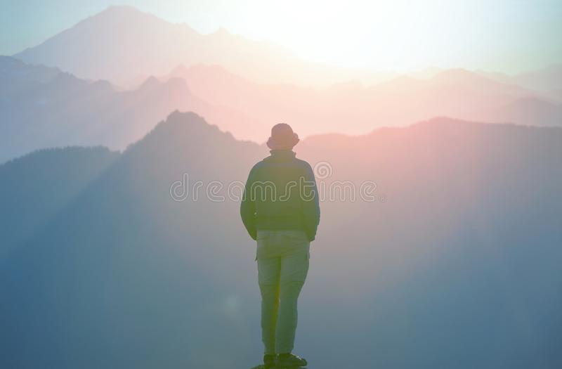 Hike on sunset royalty free stock image