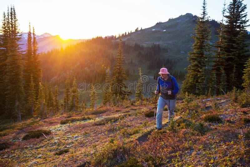 Hike on sunset stock photo