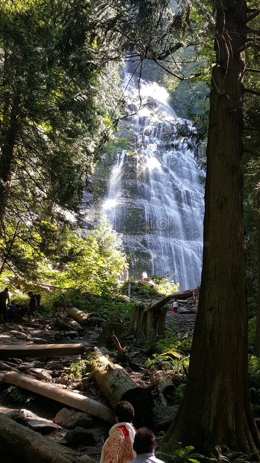Hike to the falls royalty free stock photo