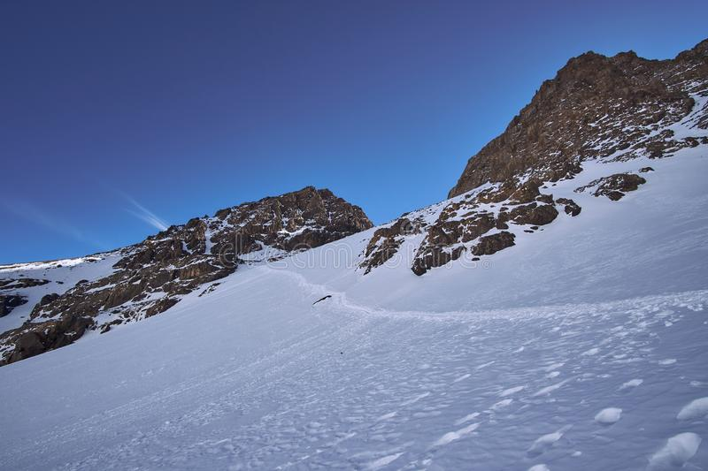 The hike trail to the peak of Jebel Toubkal royalty free stock images