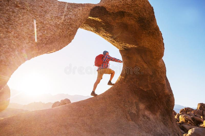 Hike in Utah. Hike in the Utah mountains. Hiking in unusual natural landscapes. Fantastic forms sandstone formations royalty free stock images