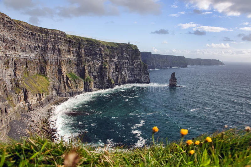 Hike walking trail by sea cliffs and ocean stock photography