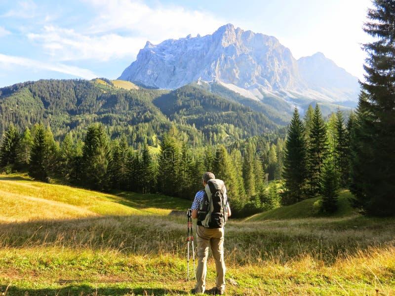 Hiker вытаращить на далекой горе стоковое изображение rf