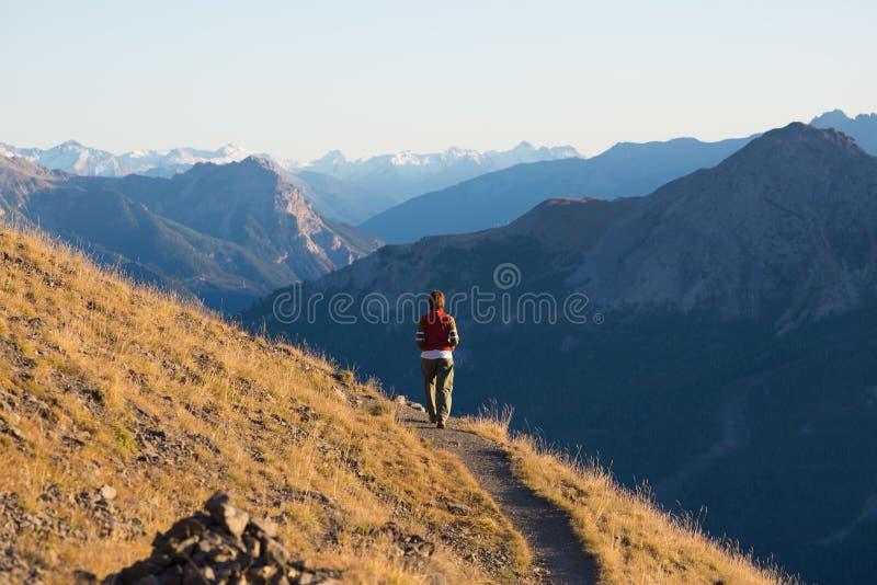 Hiker в ландшафте скалистой горы большой возвышенности Лето рискует на итальянском французе Альпах, тонизированном изображении стоковые изображения rf