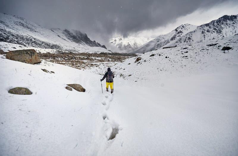 Hiker в снежных горах стоковое изображение