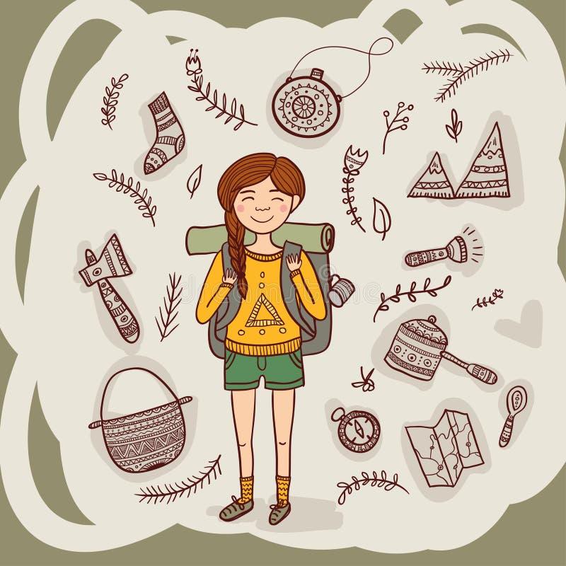 Hiker девушки с располагаясь лагерем оборудованием в этническом богато украшенном стиле иллюстрация вектора