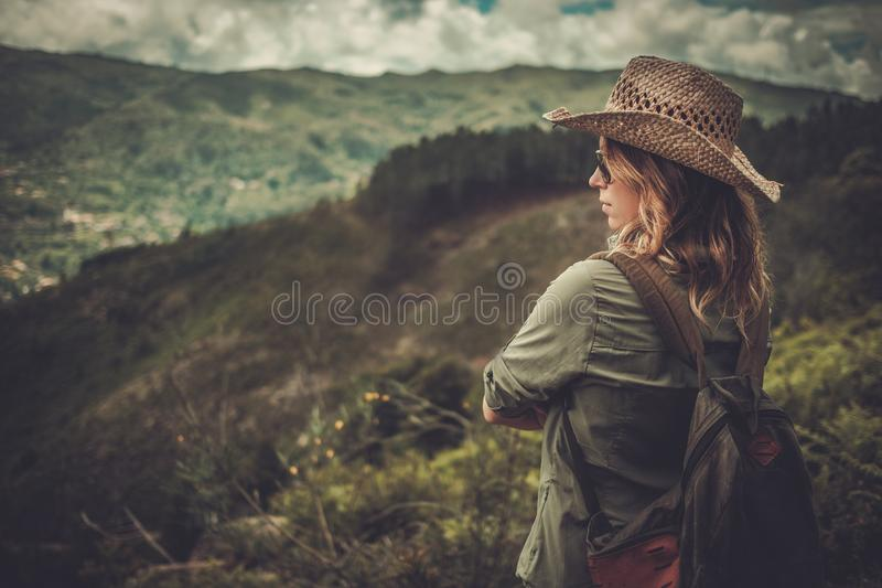 Hiker женщины наслаждаясь изумительными ландшафтами долины на верхней части горы стоковая фотография rf